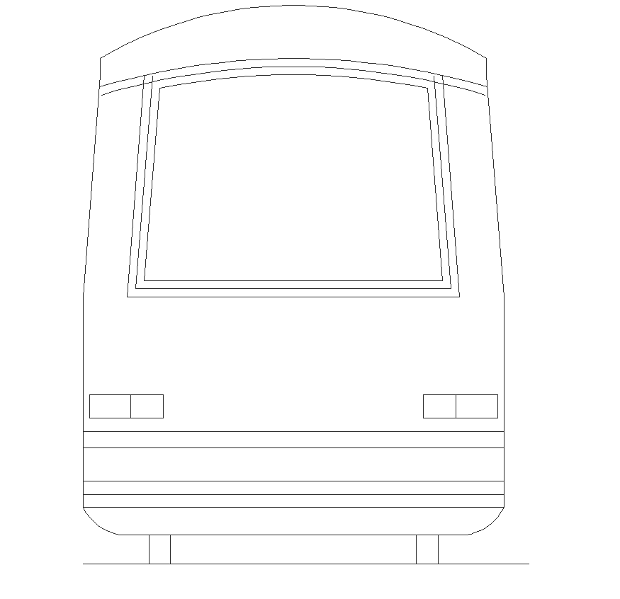 Metro train engine detail elevation 2d view layout dwg file