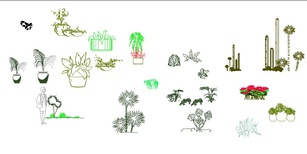 Miscellaneous tree and plants blocks cad drawing details dwg file