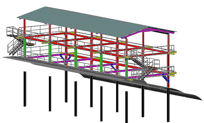 Mobile camp 3d structure dwg file