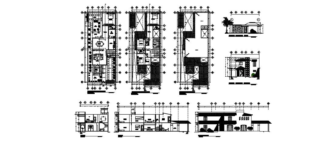Modern Bungalow House Design In AutoCAD File
