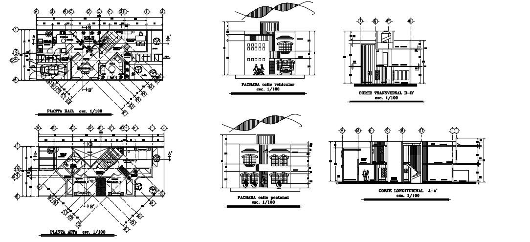 Modern House Elevation In DWG File