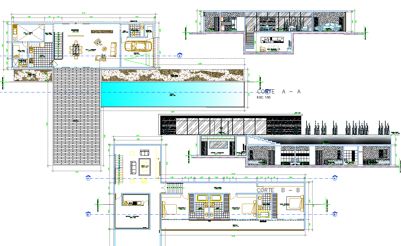Modern Residence Project detail dwg file