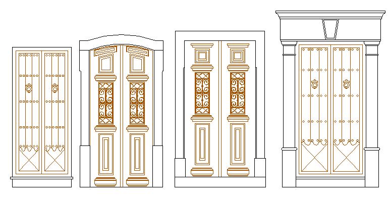 Modern door design architecture project dwg file