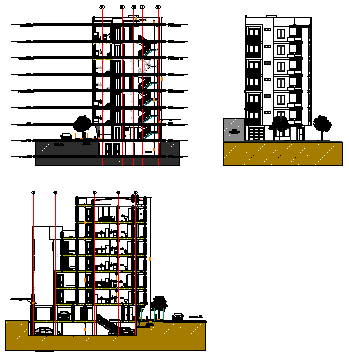 Modern elevation  of apartment  design drawing
