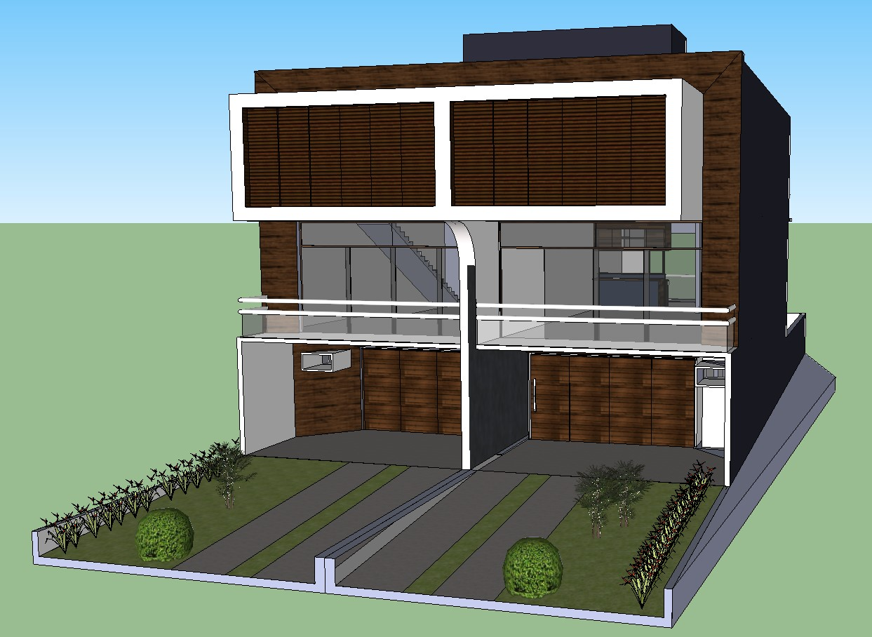 Modern house two-story 3d model cad drawing details dwg ...