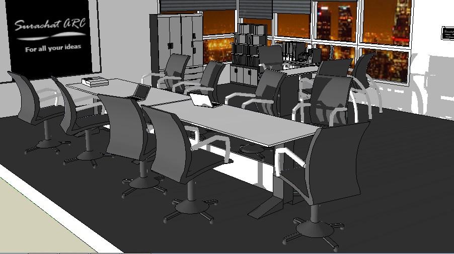 Modern office 3d model cad drawing details skp file