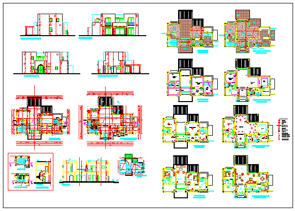 Modern single family villa design drawing