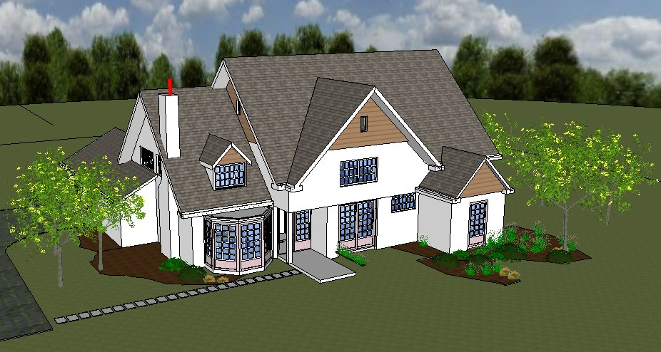 Modern two-story 3d bungalow cad drawing details skp file