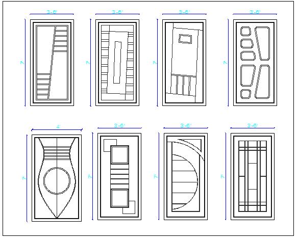 Modern type wooden door designing blocks details dwg file