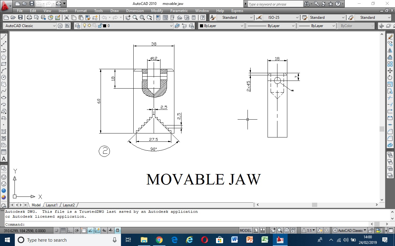 Movable Jaw mechanical part of vice