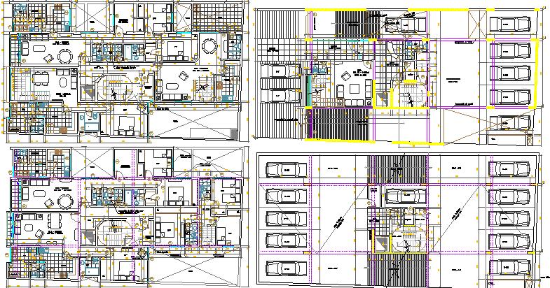 Multi-Family Residential Building Floor Plan Details dwg file