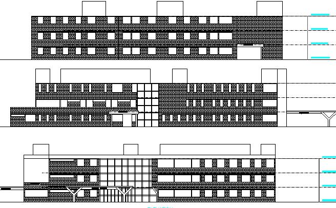 Multi-Flooring Hospital Front and Back Elevation dwg file
