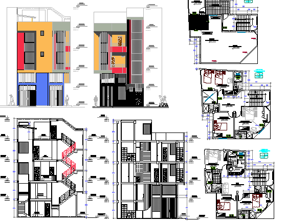 Multi-Flooring Trade and Accommodation Star Hotel Project dwg file
