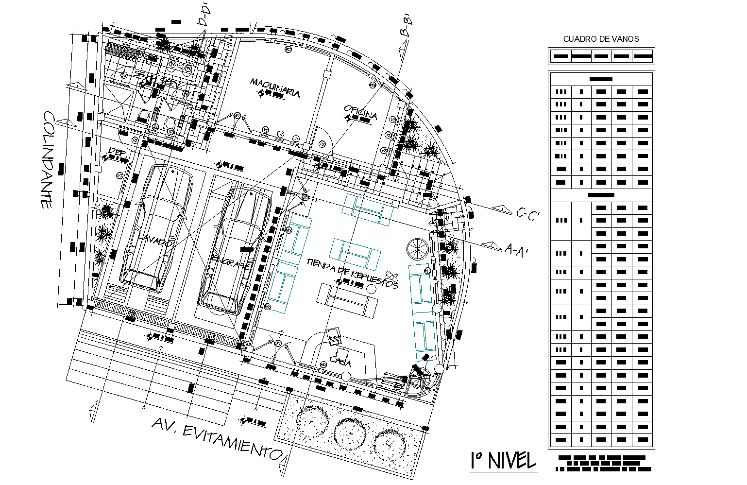 Multi-brand automobile sales and service plan detail dwg file.