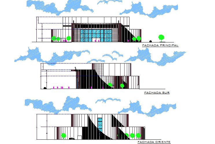 Multi cinemas elevation detail dwg file