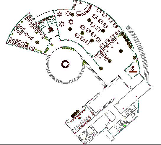 Multi-cuisine restaurant architecture layout plan details dwg file