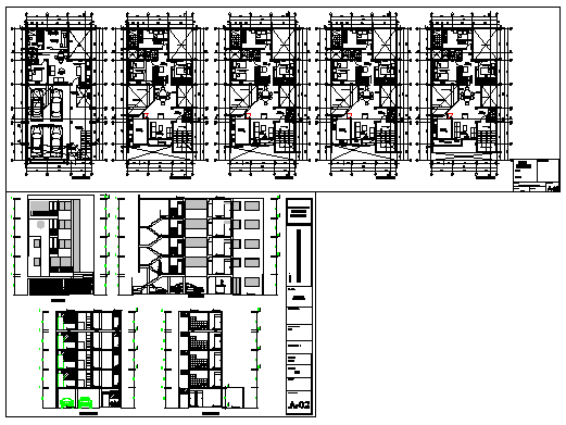 Multi family housing storay flat 5 floor design drawing