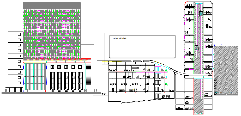 Multi-flooring corporate building elevation and sectional view dwg file