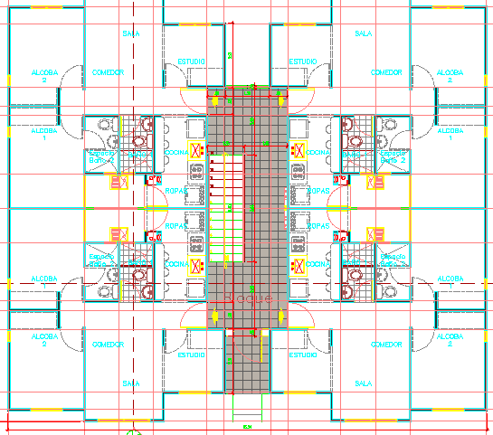 Multi-flooring housing building layout plan dwg file