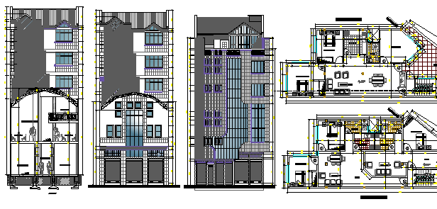 Multi-flooring residential building elevation, section and layout plan dwg file