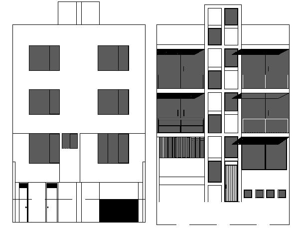 Multi-flooring residential building side elevation details dwg file