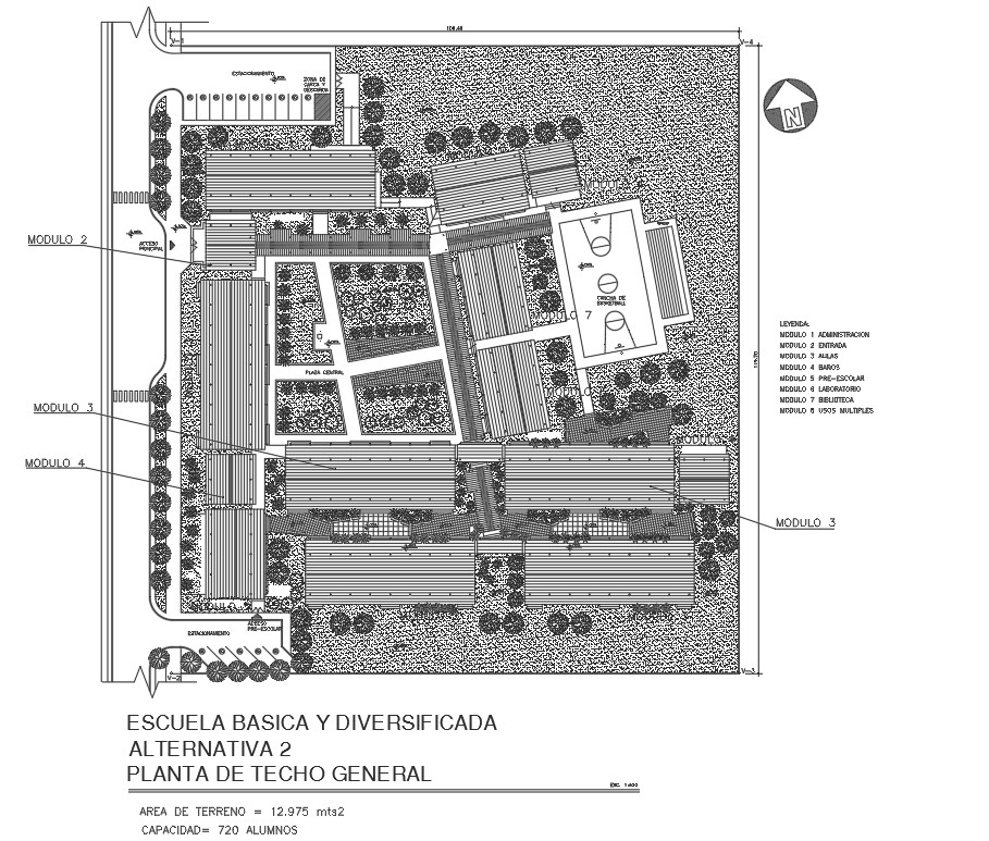 Multi-flooring urban school landscaping with structure layout plan details dwg file