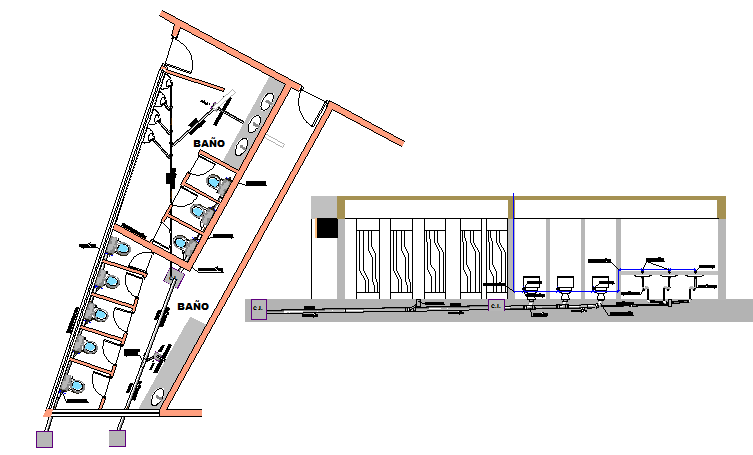 Multi-stall bathroom and toilet installation details of theater dwg file