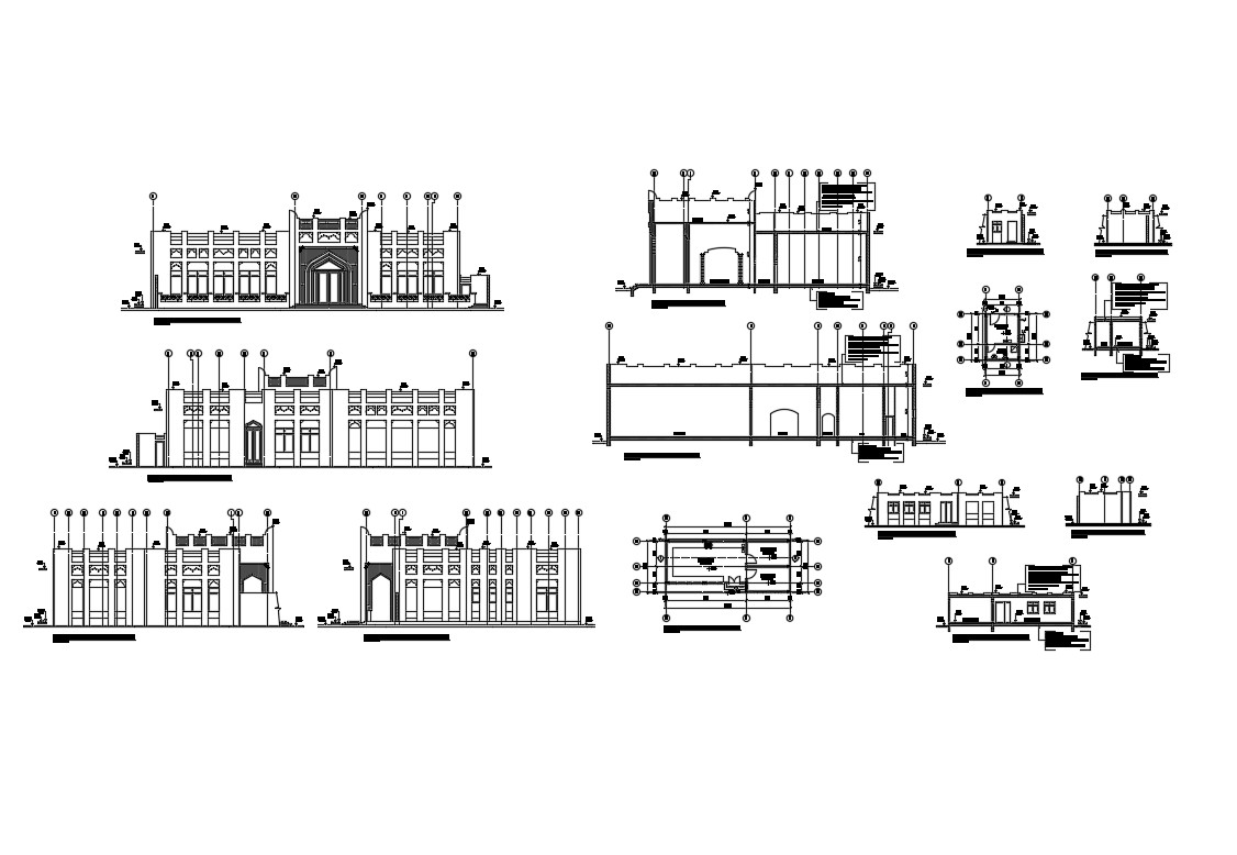Multi Story House Building Elevation Section And Plan