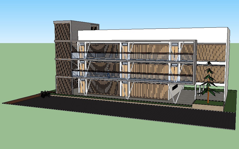 Multi-story residential bungalow 3d model cad drawing details skp file