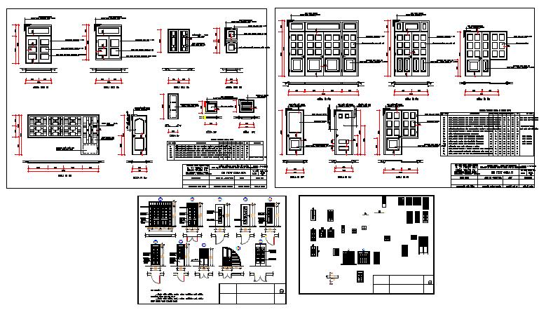Multi-type door installation details of bungalow dwg file