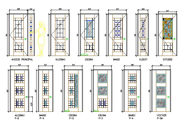 Multiple door design of building dwg file