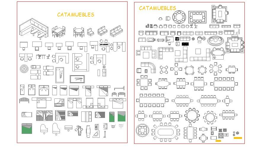 Multiple dynamic furniture elevation blocks cad drawing details dwg file