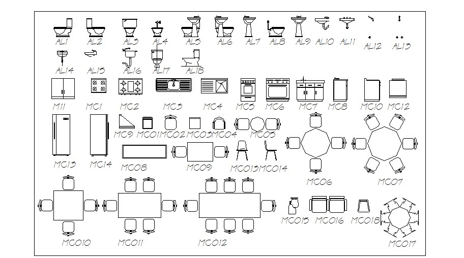 Multiple furniture, kitchen and sanitary blocks cad drawing details dwg file