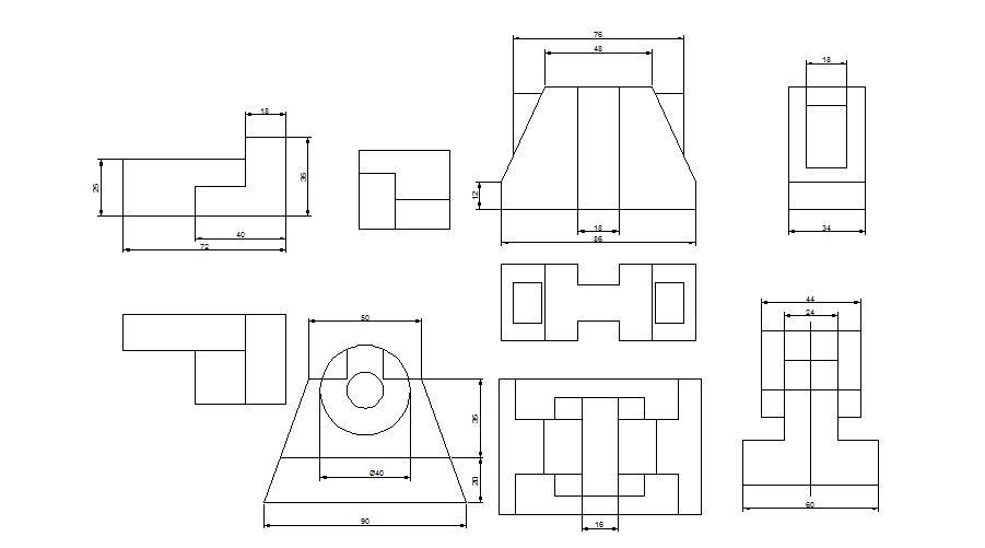 Multiple mechanical parts drawing blocks cad drawing details dwg file