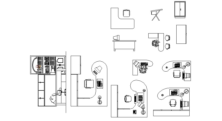 Multiple office furniture and desk blocks cad drawing details dwg file