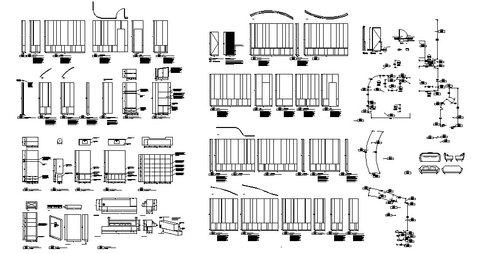 Multiple office furniture blocks and car pantry details dwg file