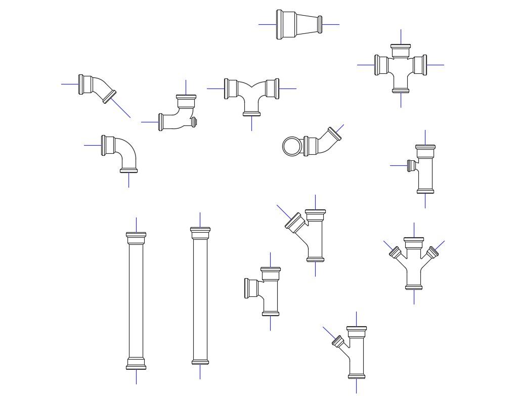 Multiple pvc pipe blocks cad drawing details dwg file