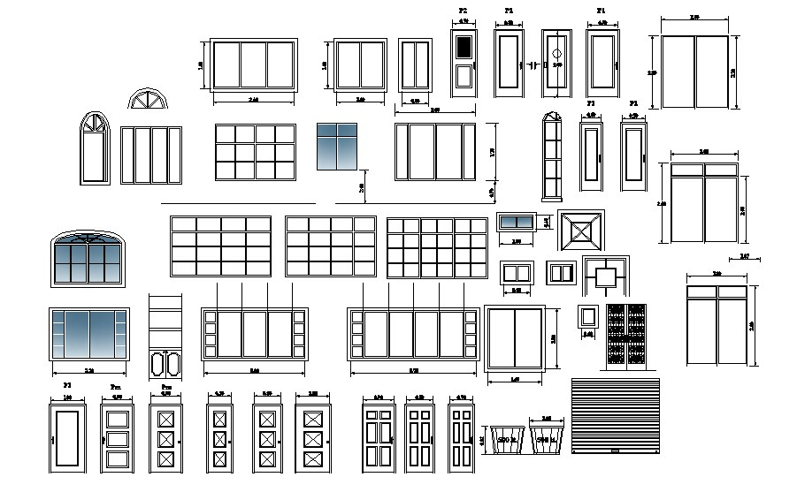 Multiple wooden doors and windows elevation blocks cad drawing details dwg file