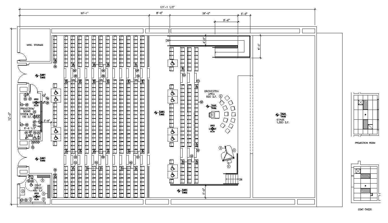 Multiplex theater building plan detail 2d view layout file