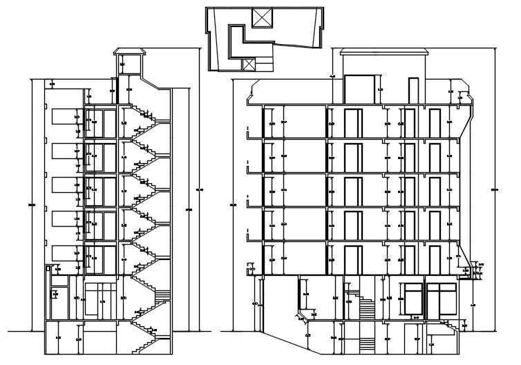 Multistorey hotel building in dwg file