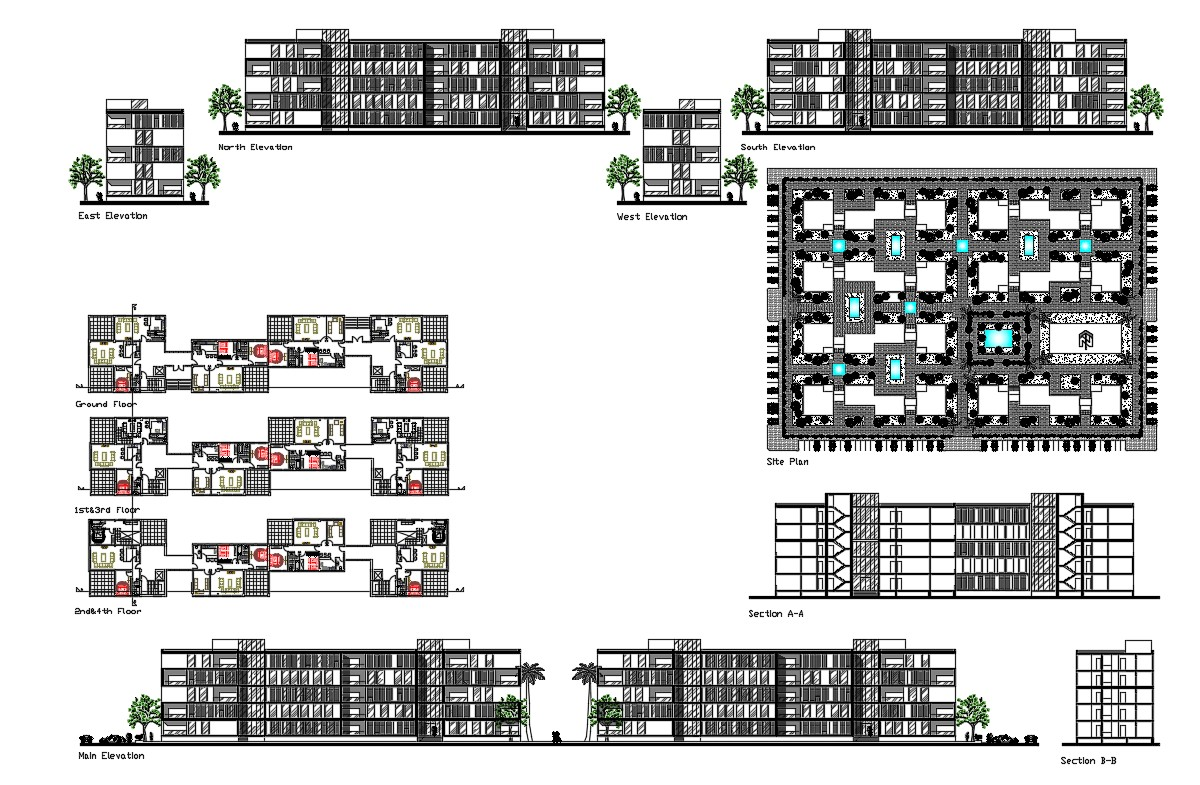 Multi Storey Residential Building In AutoCAD File