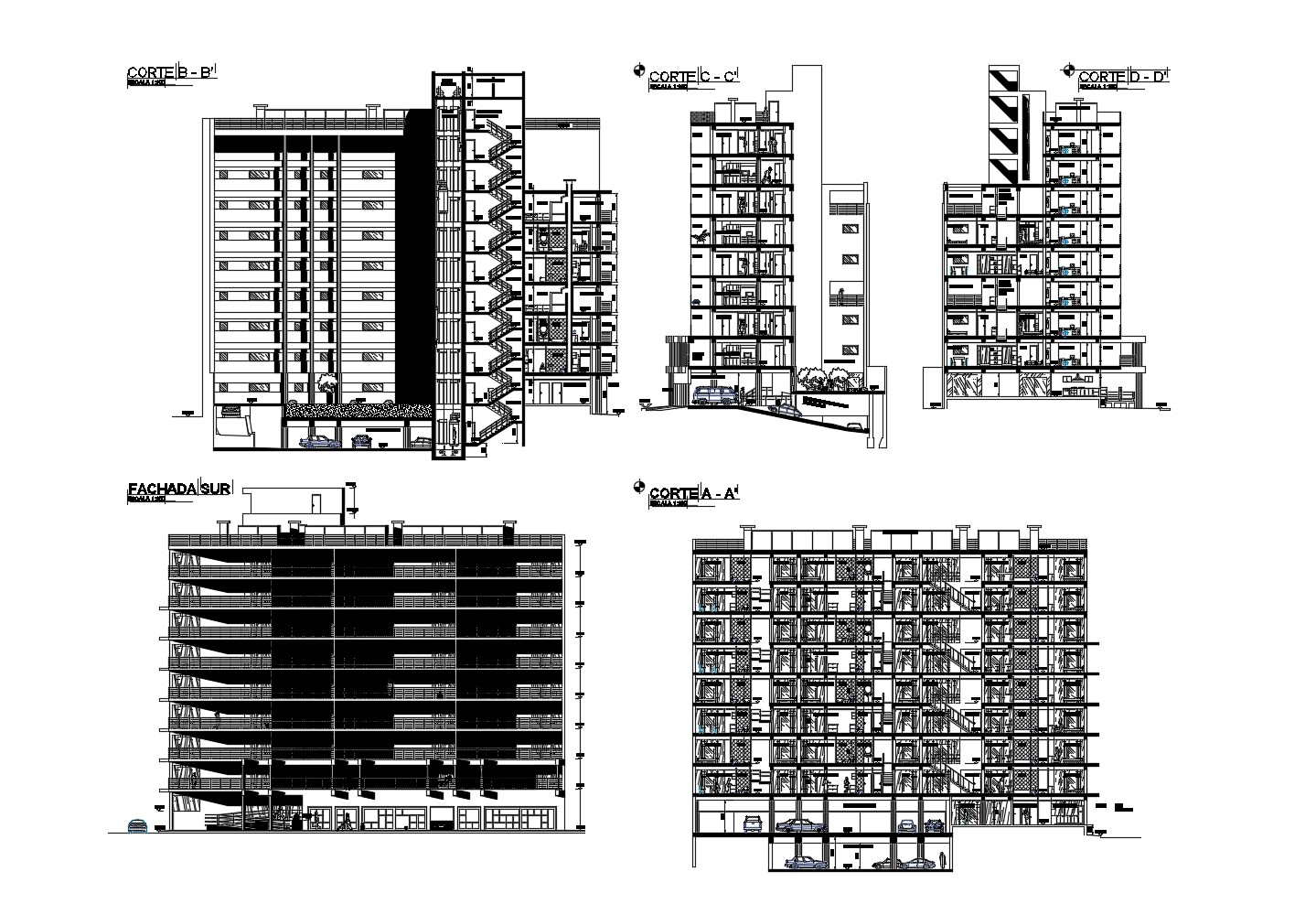 Multistorey building design in AutoCAD file