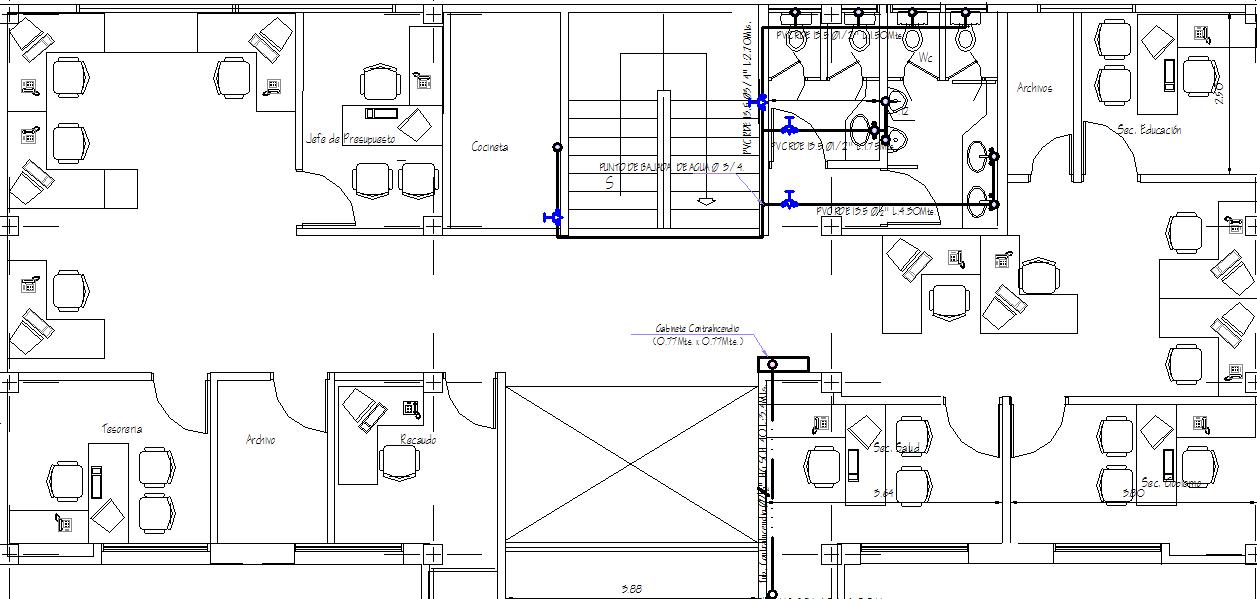 Municipal building layout plan dwg file