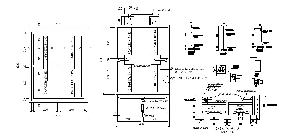 municipal dry bed sewer system cad structure details dwg