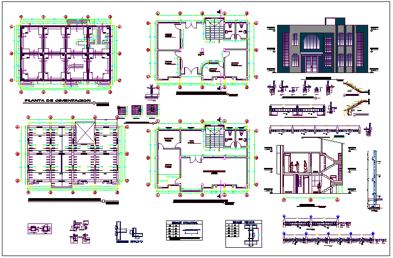 Municipal office building plan detail dwg file