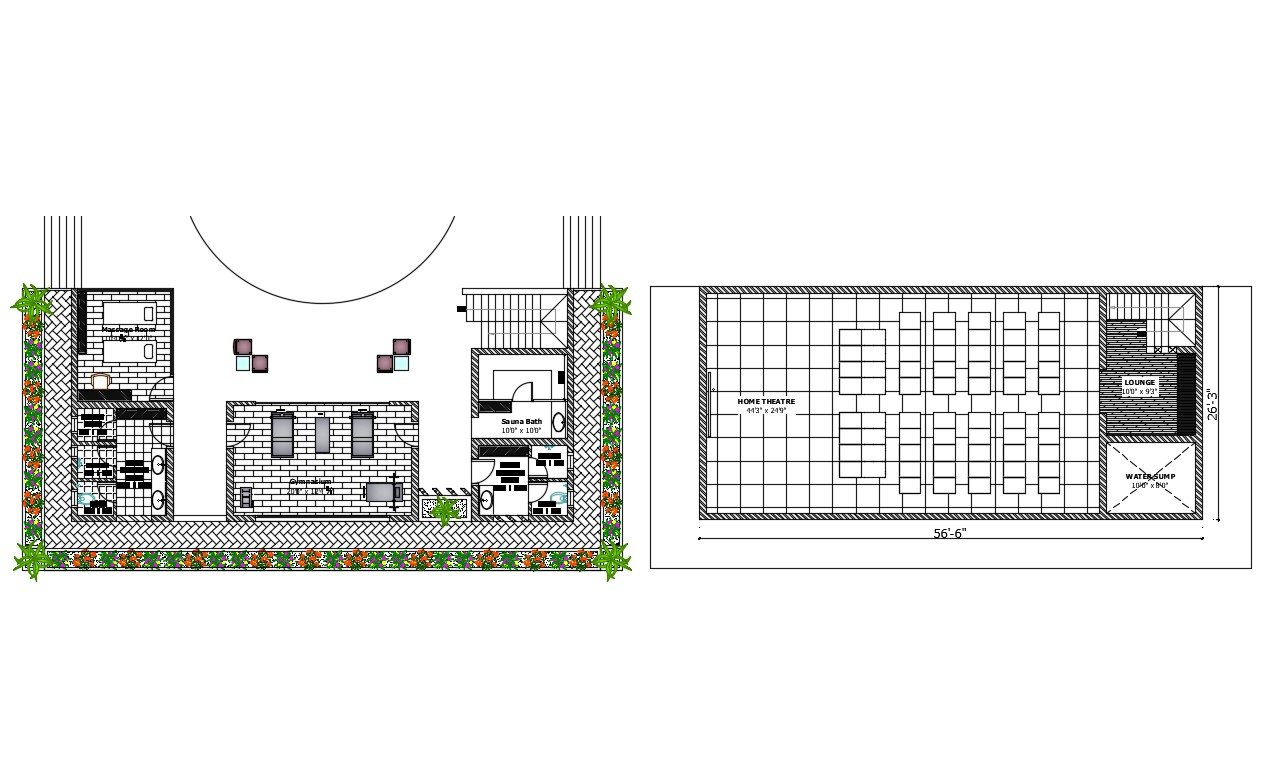 Municipal salon layout plan and cover plan details dwg file