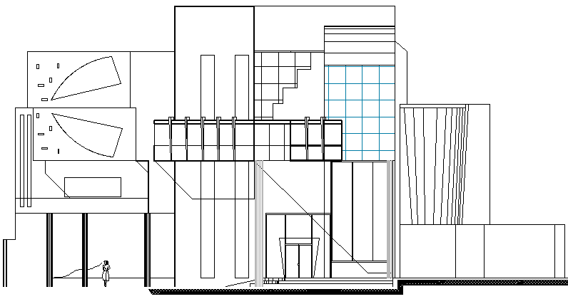Municipality corporation building elevation details dwg file