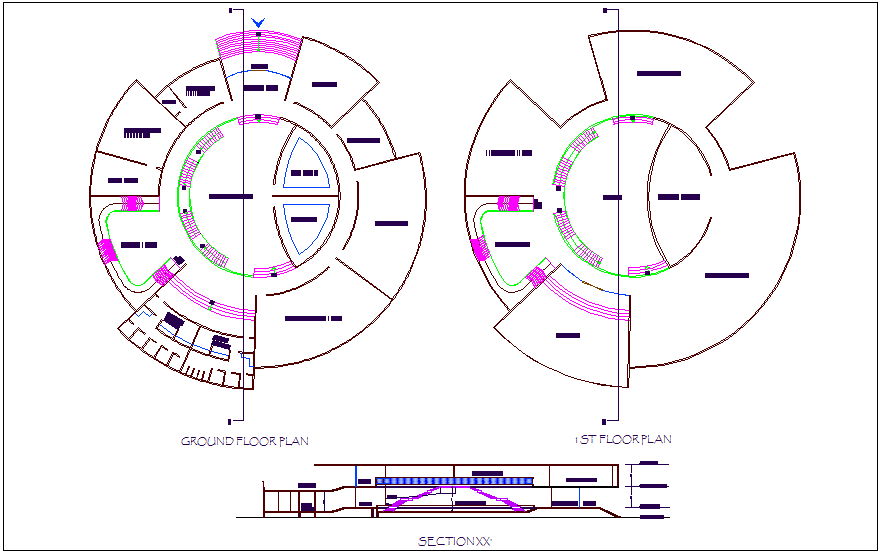 Museum floor plan with its section view dwg file