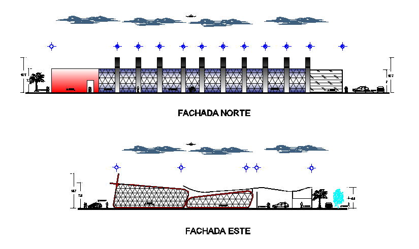 New and modern architectural building elevation