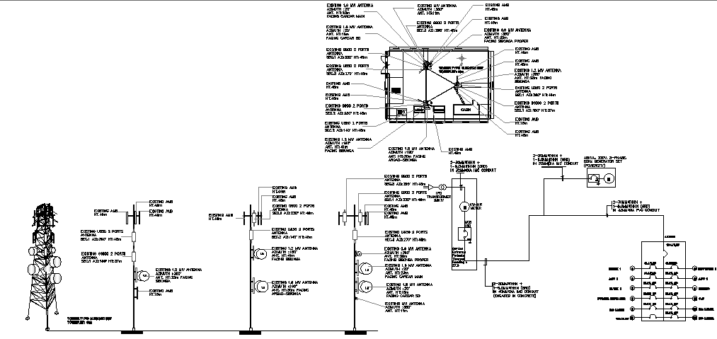 Nokia telephonic tower with electric installation details dwg file